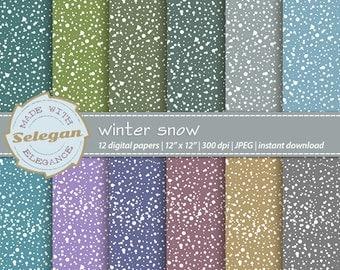 Winter Snow, Digital Paper, Scrapbooking, Paper, 12x12, Printable, Pattern, Snow, Texture, Winter, Snowfall, Background