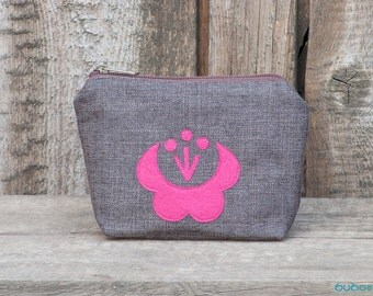 Dark Brown Wristlet, Zipper Purse, Kalocsai Motif Wallet, Hungarian Embroidery Cosmetic Bag, Pochette, Bag Order, Pouch