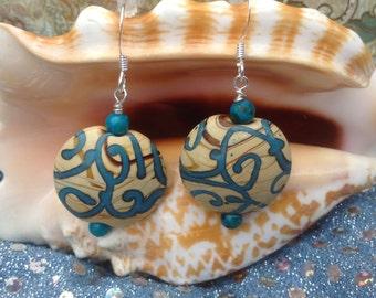 Aqua and Beige dangle earrings