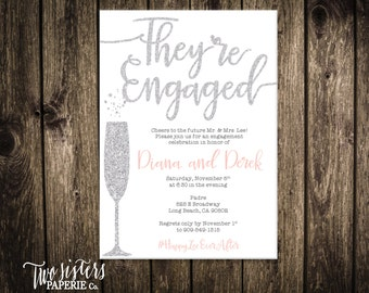 Printable Engagement Party Invitation Silver Glitter - They're Engaged - Engagement Invitation