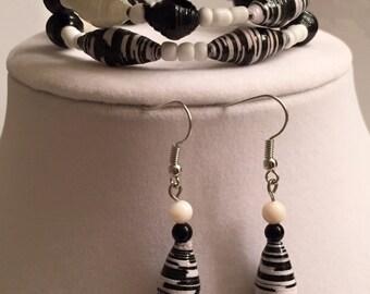 Paper Bead Bracelet & Earring set