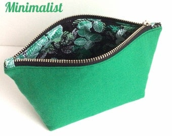 SALE Small Makeup Bag, Small Cosmetic Bag, Small Makeup Pouch, Green Makeup Bag, Green Zipper Pouch, Small Zipper Pouch