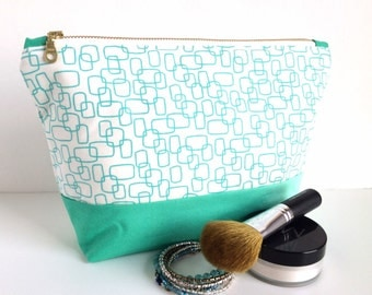 Large Makeup Bag, Large Zipper Pouch, Sea Green Makeup Bag, Large Cosmetic Case