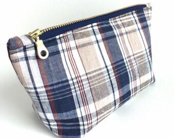 Small Makeup Bag, Small Cosmetic Bag, Small Zipper Pouch, Plaid Zipper Pouch, Mini makeup Bag, Mini Cosmetic Bag