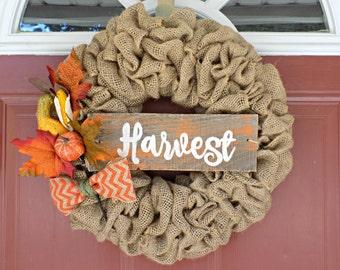 Fall burlap wreath- burlap wreath, harvest, orange chevron, burlap bow, autumn wreath, fall decor, pallet wood