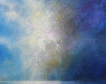 ORIGINAL OIL Painting, Seascape Painting, Blue Abstract Art, Beach Impressionist Canvas Painting, Ready To Hang Wall Art Home Decor Gift Art