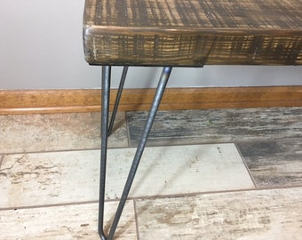 Wooden Bench with Hairpin Legs, Reclaimed Wood Furniture
