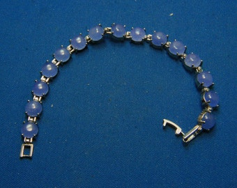 Vintage Chalcedoney Blue Glass Moonstone Glass Tennis Bracelet Classic and Gorgeous