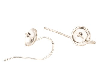 20pcs Earwire, 21 gauge plain wire with 7mm setting cup and peg Silver-plated brass, 20x15mm