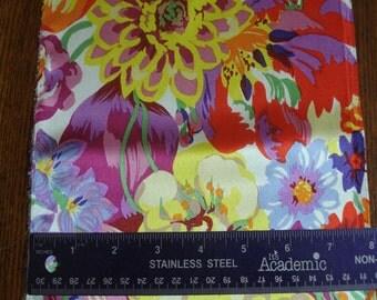 100% Silk Charmeuse Prints - Spring Bouquet White