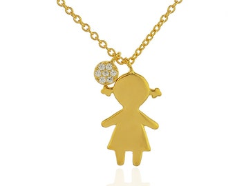 Silhouette Girl Pendant Necklace, Silhouette Girl Jewelry, Mom Gift Ideas