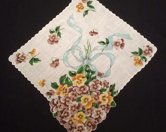 Vintage Floral Handkerchief, Flower Hankerchief, Brown and Yellow Pansy Hankie, 1950's Edge Hanky