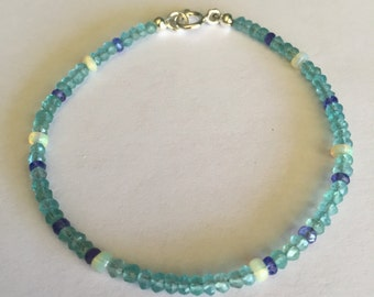 Dainty Apatite, Ethiopian Opal, and Tanzanite Gemstone Stacking Bracelet