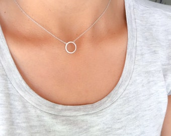 Eternity circle necklace. Sterling silver eternity necklace. Cz circle necklace. Silver circle necklace. Gold circle necklace. Necklaces.