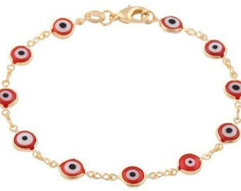 Red Evil Eye Bracelet, Evil Eye Bracelet, Evil Eye Goldfilled Bracelet, Eye Jewelry, Gold Plated Bracelet, Eye Bracelet, Protection Bracelet