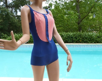60's blue swimsuit with red and white stripes