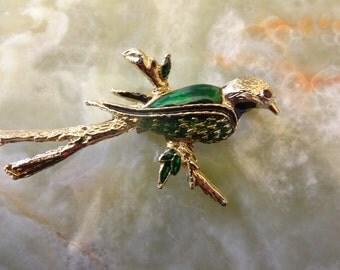 Vintage Enamel Bird Brooch