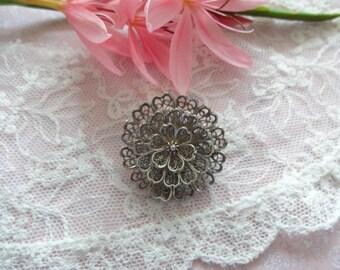 Vintage Silver Filigree Brooch, Flower Brooch, Silver Flower Brooch,  Artisan Brooch