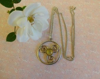 Vintage Moonstone Pendant,  Silver Circle of Life Pendant with Chain, Moonstone Pendant, Circle of Life, Artisan Silver Pendant