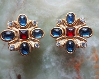 Vintage Red Blue Diamante Clip on Earrings, High End Gold Tone Clip Ons