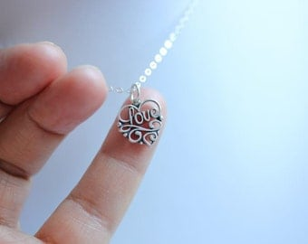 Love Filigree heart necklace - Silver Love heart necklace - Valentine Jewelry  - Filigree heart necklace  - - Delicate necklace
