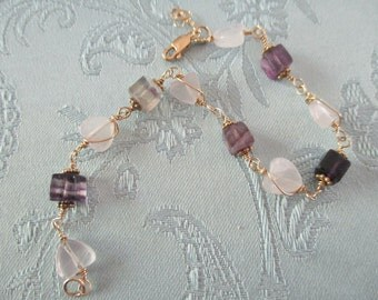 Berryhill Jewelry, Rose Quartz stones, Fluorite stones, semi precious stones, Gold filled, wire wrapped bracelet
