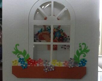 Cross stitch Window Card