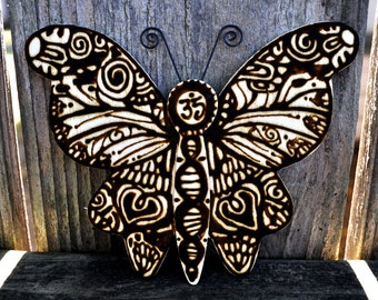 """Henna on Wood Panel: """"Butterfly"""""""