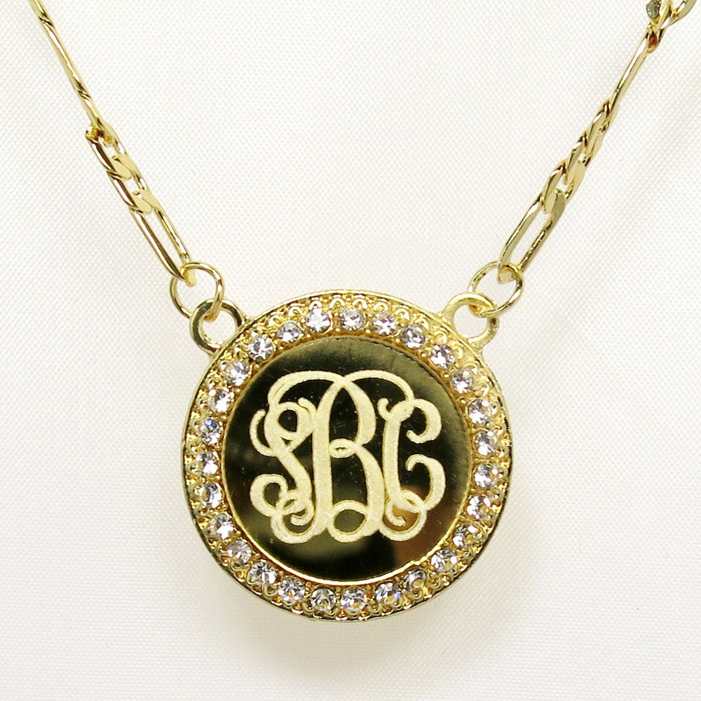 monogram circle necklacemonogram necklace by newyorkcustommade