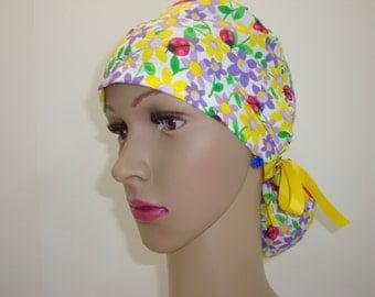 Ponytail Handmade Medical Scrub-Nurses Cap- Flower LadyBug Cap -100%Cotton.