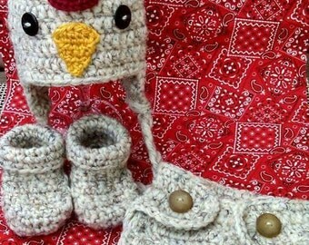 Crochet chicken/rooster baby hat, diaper cover and booties