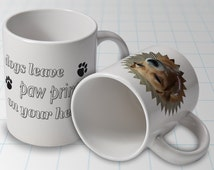 Dogs leave paw prints on your heart - personalised mug with your dogs image incorporated