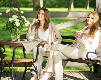 Linen robe / Luxurious natural linen robe / Bathrobe / natural bathrobe / white linen bathrobe / white robe / natural linen robe / spa robe