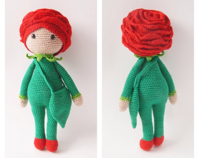 Crochet Toy Doll Rose Flower Fairytale Amigurumi Lalylala Doll Zabbez Gifts for Kids Nursery Decor Custom Color Handmade