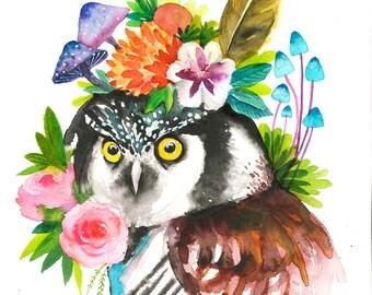 dreamy OWL 6. Art Print.