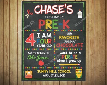 First Day Of Pre-K Sign For Boys, Pre-K Personalized Chalkboard Boys Sign, Boys Chalkboard First Day Of School Sign 2017