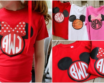 Monogrammed Minnie and Mickey  Shirt -