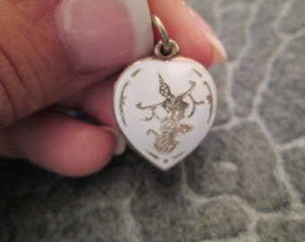 Sterling silver Siam Niello white puffed HEART charm>>new old stock