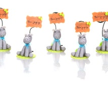 Set of 5 hippo to Capucakes handmade cake topper polymer (cold porcelain) With or Without name