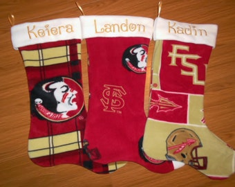Custom made team Christmas stockings with first name