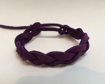 Handmade purple leather braided Bracelet