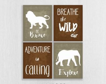 CANVAS Safari Nursery Wall Art Set of 4 - Adventure Nursery - Be Brave, Explore - Jungle Decor - Safari Decor - Childrens Art