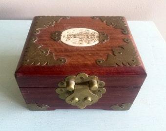 Chinese jewelry box with jade insert, brocade silk interior beautiful Asian jewelry box