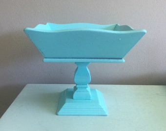 Turquoise fruit bowl shabby chic wooden compote pedestal bowl blue kitchen decor