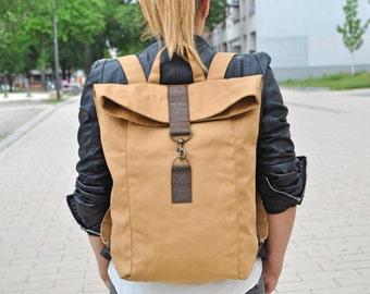 Beige Canvas Rucksack, wasserabweisend, groß, Laptop Tasche, Damen Tasche, Herren Tasche, Segeltuch, Backpack, Unisex, Lederriemen, Vogue