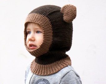 Merino Wool Hat for Toddler - Hand Knitted Brown Bear Kids Hat   - Kids Knit Bonnet - Gift for Kids - Made to Order