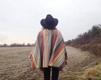 Vintage 1970s STRIPED Canvas Poncho Boho Hippie Cape Jacket With Pockets || One size || Small Medium Large
