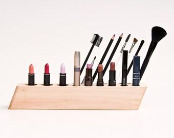 "Cosmetic Makeup Organizer Wood Countertop Organizer Brush Holder ""Scarlett"""