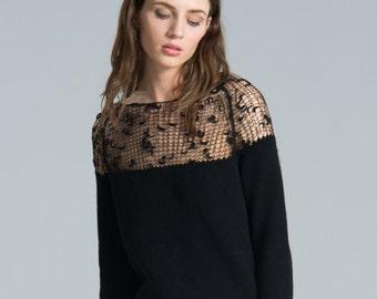 Knit Dress / Black Dress / Cocktail Dress / Day Dress / Sweater Dress / marcellamoda k - MD180