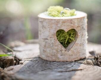 Boite pour alliances bûche et coeur ajouré / ring box for rustic wedding